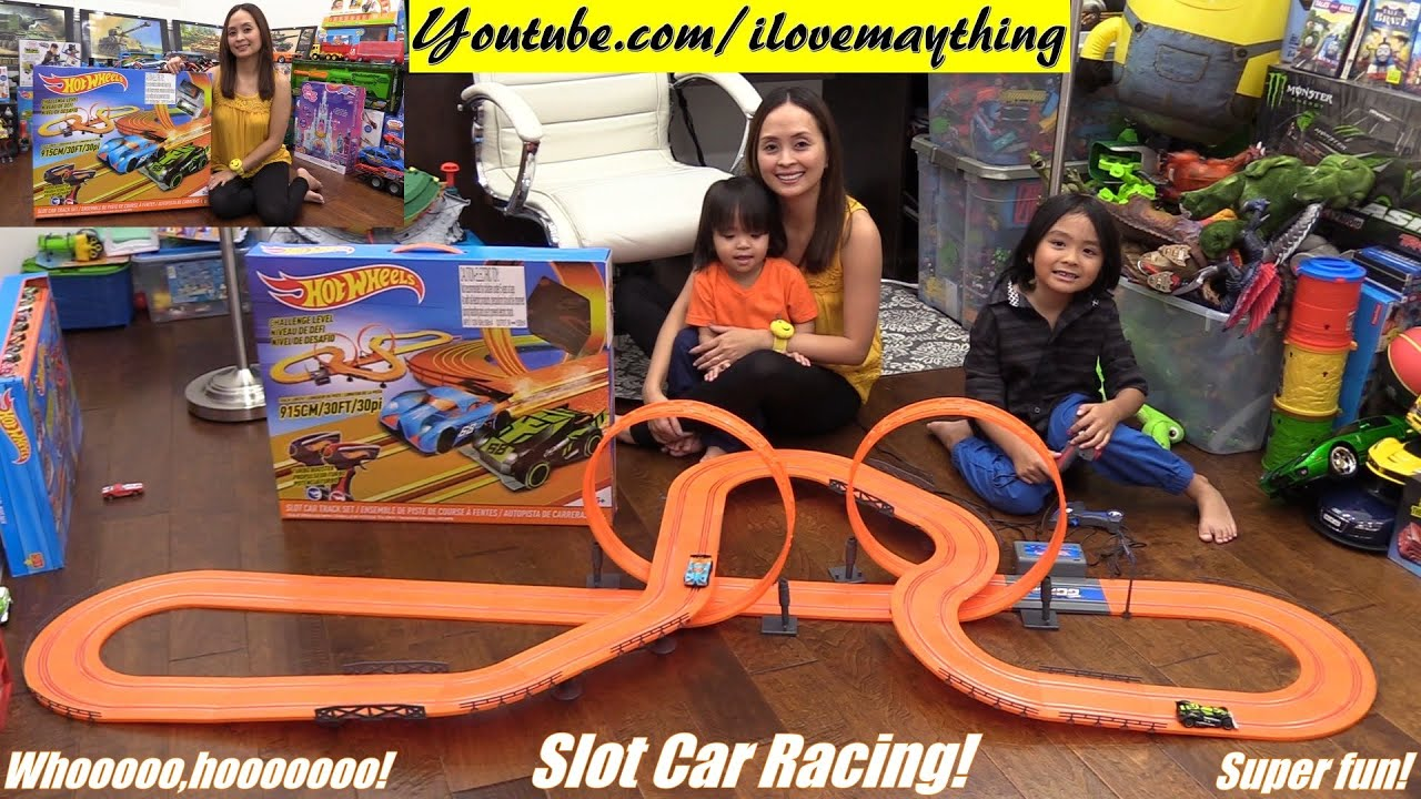kids toy cars hot wheels slot car track set unboxing and playtime with hulyan maya youtube