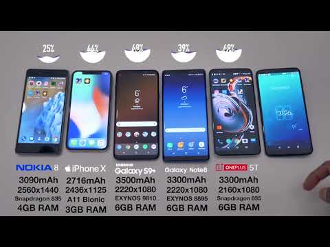 Battery Test for Nokia 8 vs  iPhone X vs  Galaxy S9 + vs