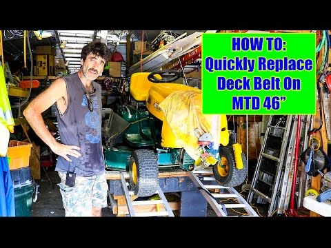 how to change cutting belt on 46 mtd riding mower