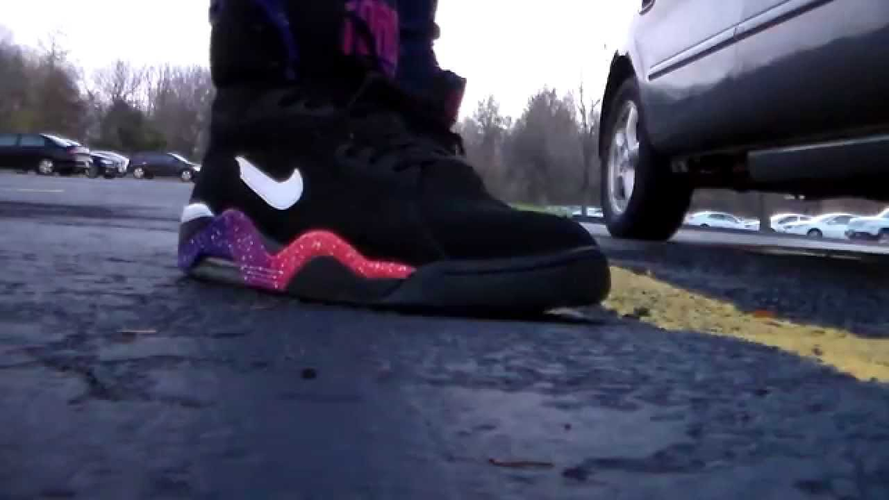 Nike Air Force 180 blk pink orange purple on feet - YouTube 13bbc4ffd456