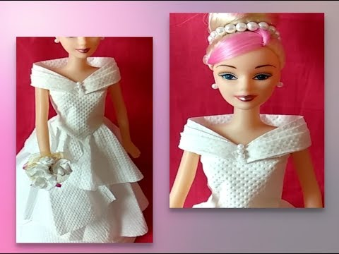 DIY doll dress with tissue paper / 👗diy barbie doll dress/ doll makeover