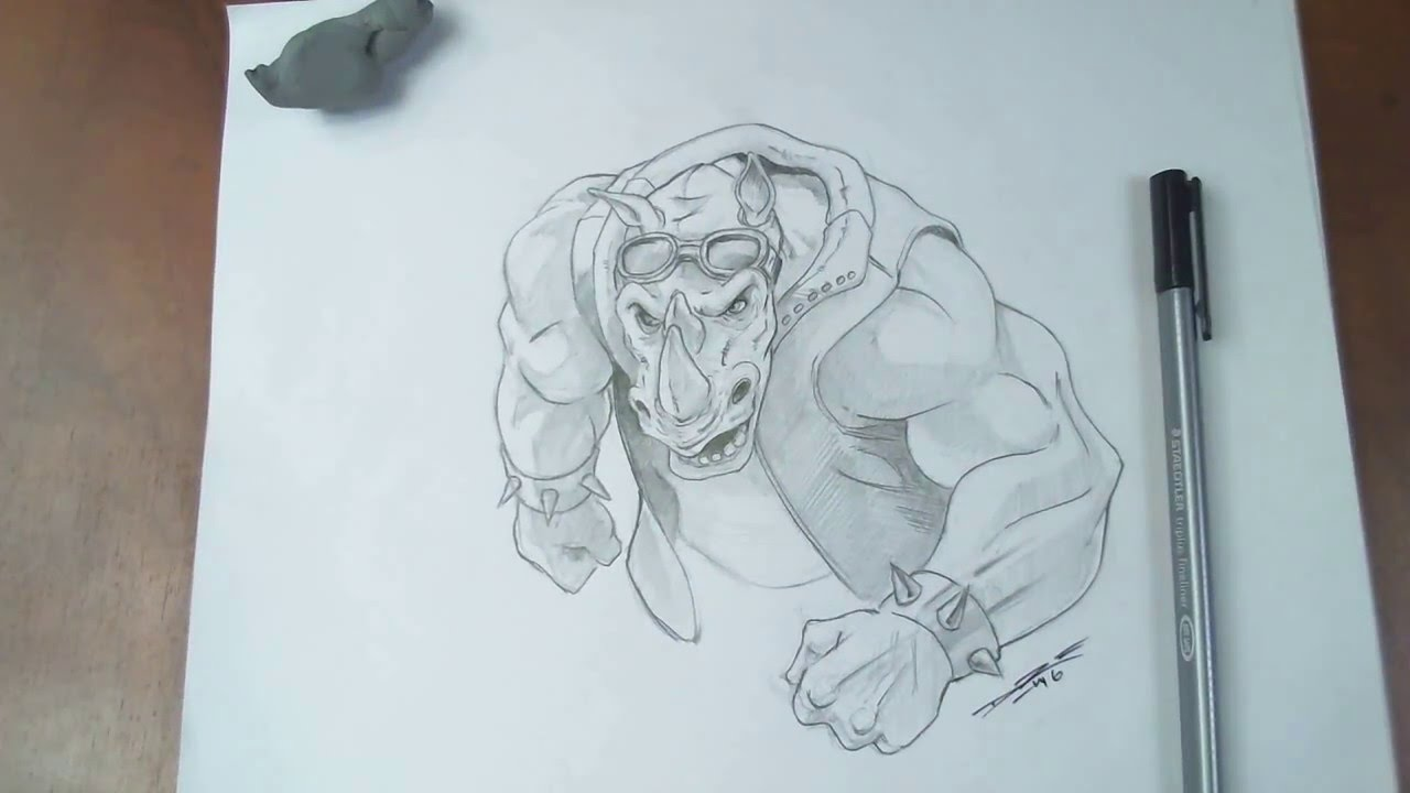 Drawing rocksteady teenage mutant ninja turtles out of the shadows youtube