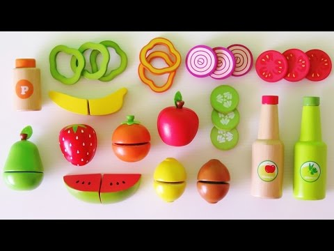 Thumbnail: Learn colors learn names of fruits and vegetables make toy salad velcro wooden play food