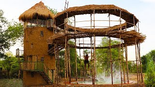 Build five - story mud house with swimming pool  and build hut around swimming pool (full video)