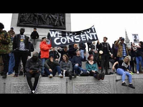 Manifestaciones contra el confinamiento en varias ciudades europeas.