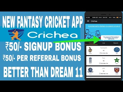 Crichea New Fantasy Cricket App !! RS 50 Signup Bonus !! Dream 11 Altemative Crichea App