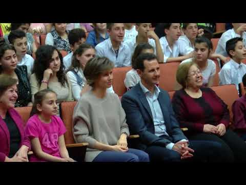 President Bashar Al Assad and the first lady Asma visit the girls school