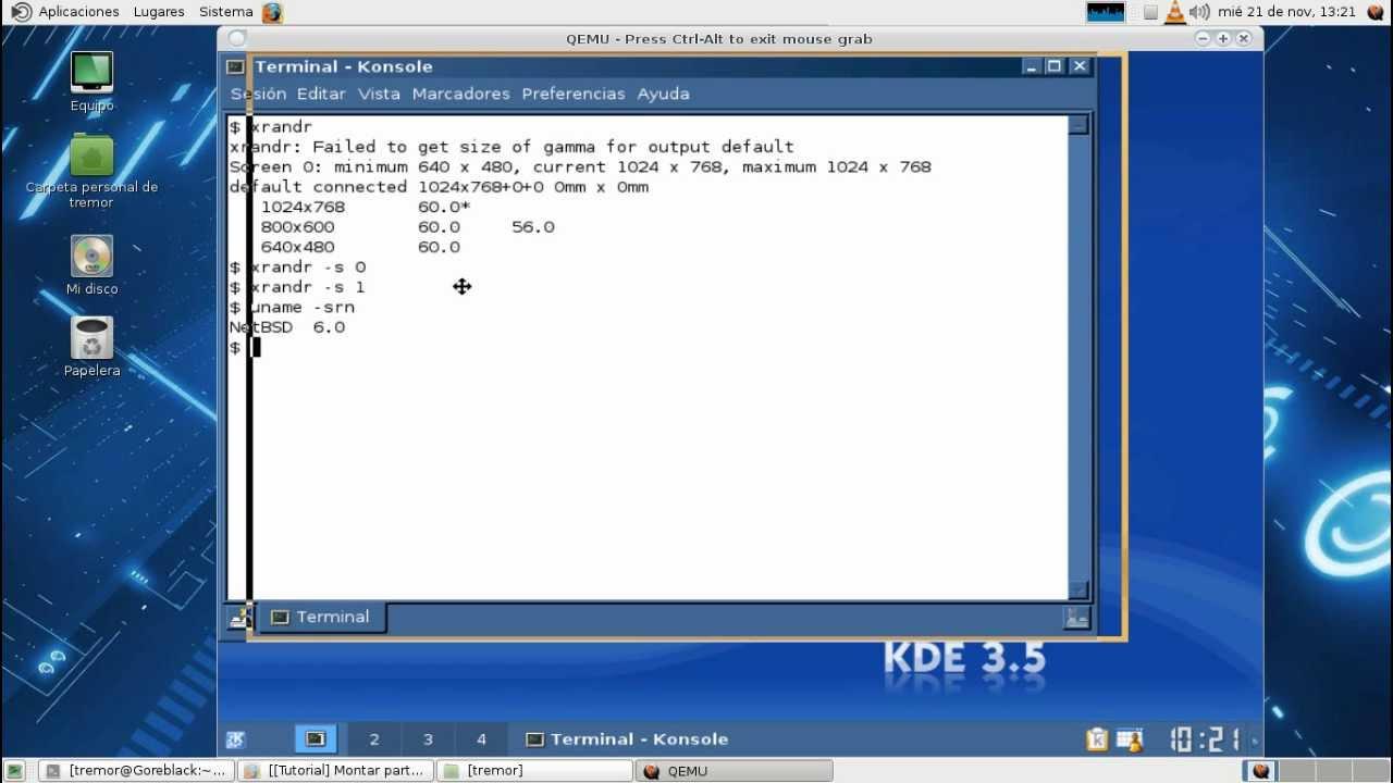 KDE 3.5.10 in NetBSD - YouTube