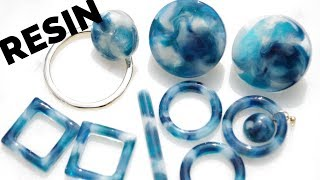 🌹【UVレジン】リクエストの青べっ甲の作り方/How to make tortoiseshell earrings