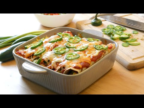 Healthy Beans & Veggie Enchiladas | Easy Dinner Party/Potluck Dish | Best Veg Fusion Mexican Recipe