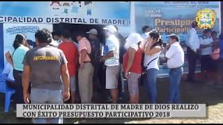 MUNICIPALIDAD DISTRITAL DE MADRE DE DIOS: Presupuesto Participativo 2018
