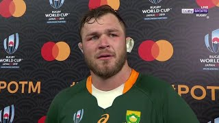 Duane Vermeulen receives the MOTM award after an outstanding display vs England | RWC 2019 Moments