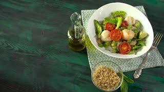 Рецепт салата с киноа и морским гребешком в мультишефе BORK U800 от Константина Ивлева