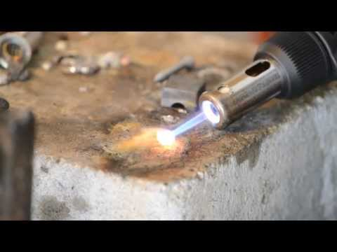 Melting copper with a blowtorch