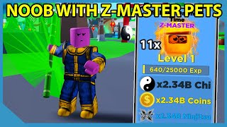 Noob Thanos With Full Team of Z-Master Pets In Roblox Ninja Legends