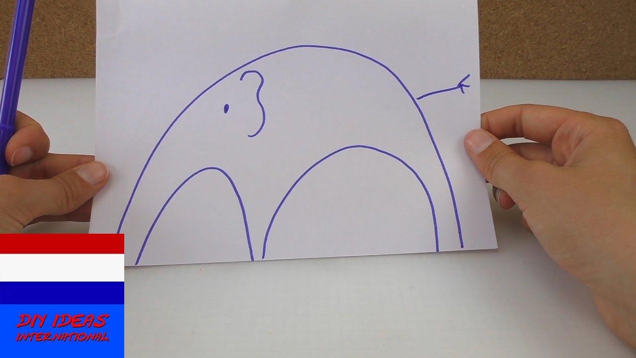 Tekenen voor beginners / hoe leer je kinderen een olifant te ...
