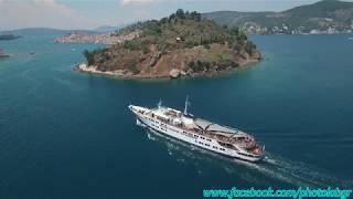 Aerial (drone) video - Cosmos arriving at Poros