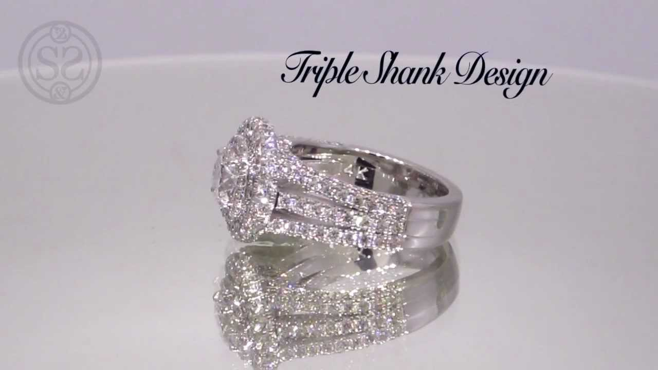 Triple Shank Halo Engagement Ring YouTube