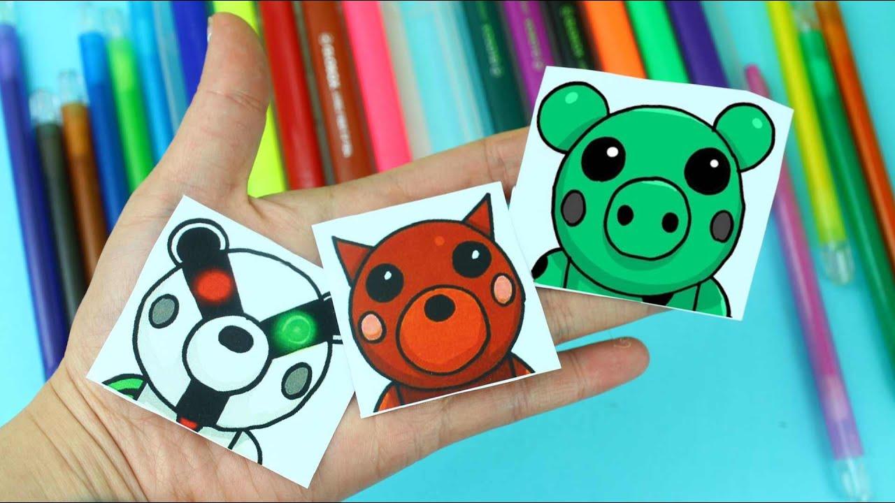 Dibuja personajes de Piggy 🐷 Roblox  paso a paso - Badgy, Doggy, Soldier y Dino