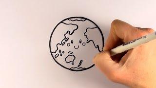 How to Draw a Cartoon Earth