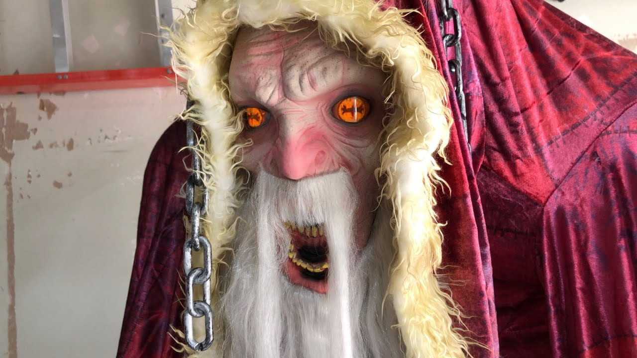 Krampus animated prop demo (life-sized movie character evil santa)