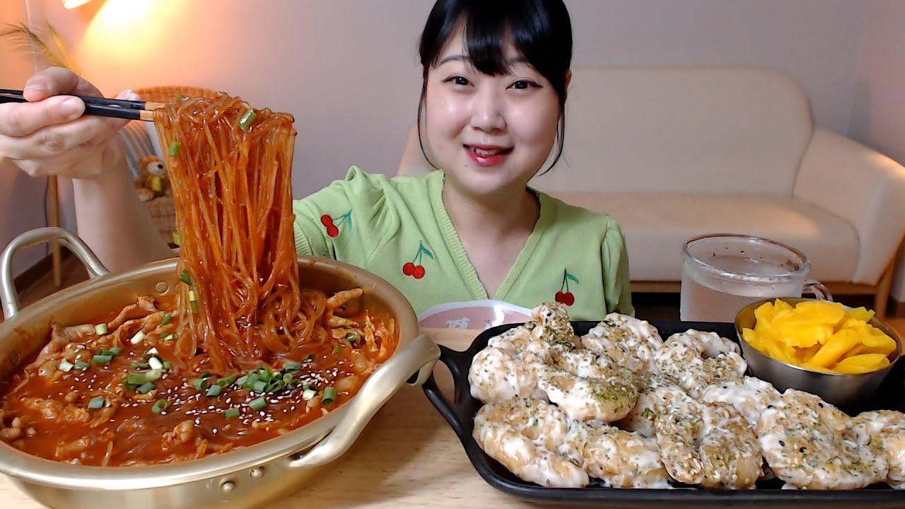 당면 듬뿍 넣은 매운국물닭발 꾸덕한 크림새우 먹방 Spicy chicken feet with glass noodles Cream shrimp Mukbang Eatingsound