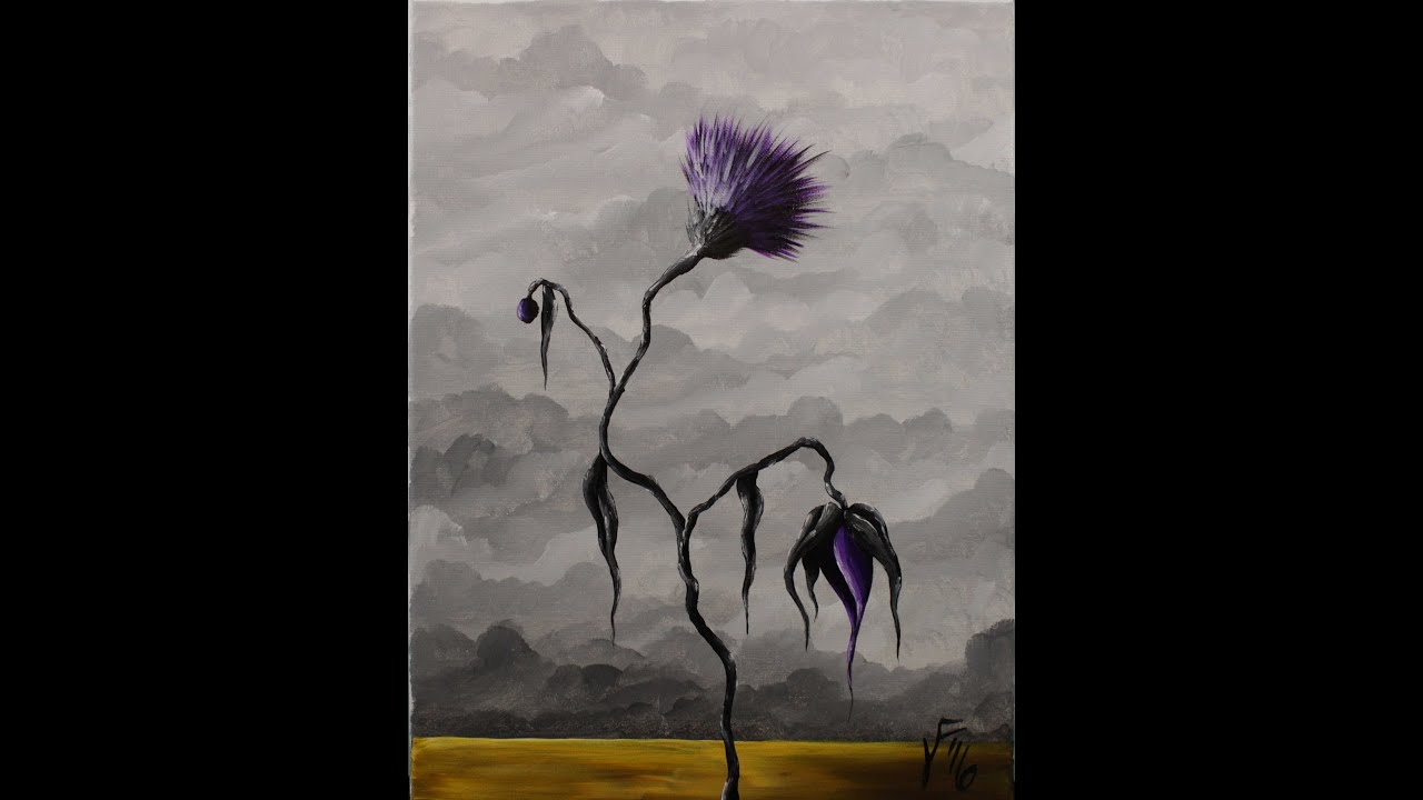 La fleur noire step by step acrylic painting on canvas for - Fleur paint ...