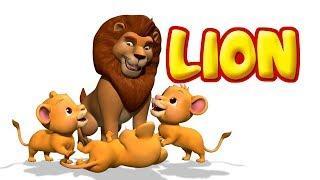 The Lion | Animal Rhymes & Songs for Kids | Infobells