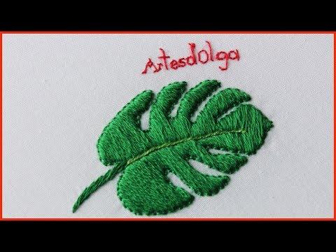 Hand Embroidery: Monstera Leaf Embroidery  Bordado a Mano: Hoja de Monstera  ArtesdOlga