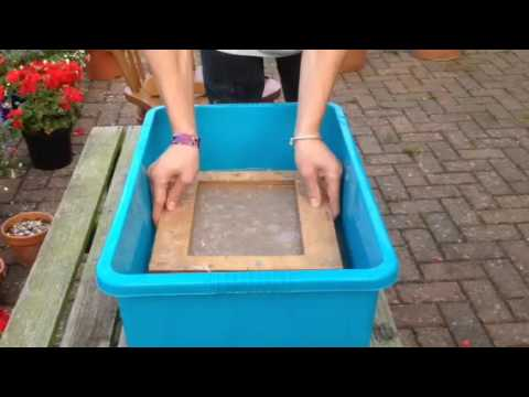 Paper making - homemade deckle and mold