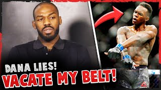 Jon Jones announces he's VACATING his LHW title + says he'll fight Israel Adesanya in 2021