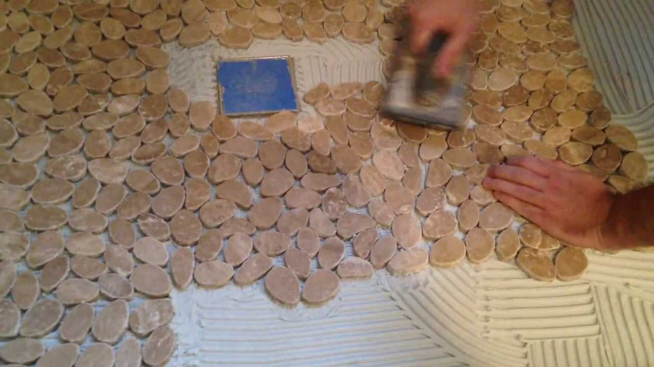 How to install stone tile on a shower floor youtube doublecrazyfo Image collections