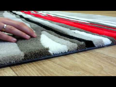 Tapis de salon red trace taupe et rouge par arte espina youtube - Tapis de salon rouge ...