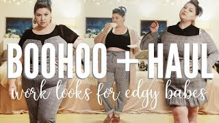 PLUS SIZE HAUL + TRY ON   Edgy, trendy work wear from Boohoo