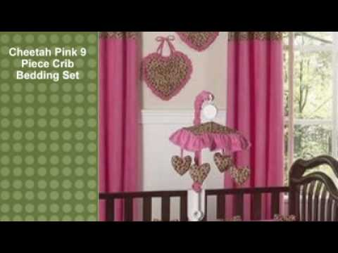 Cheetah Pink 9 Piece Crib Bedding Set