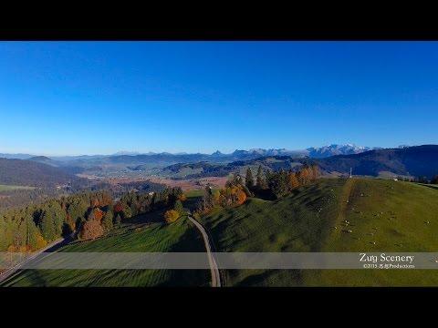 4K Raten Oberägeri, Zug SWITZERLAND アルプス山脈 dji Airview