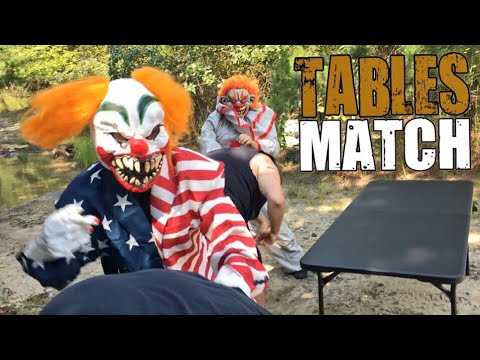 TABLE MATCH VS CRAZY CLOWNS IN THE WOODS CHALLENGE! GRIM AND VLAD TEAM UP?