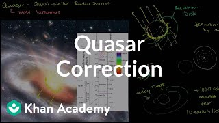 Quasar correction | Stars, black holes and galaxies | Cosmology & Astronomy | Khan Academy