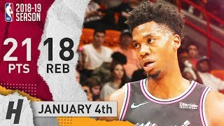 Hassan Whiteside Full Highlights Heat vs Wizards 2019.01.04 - 21 Pts, 18 Rebounds!
