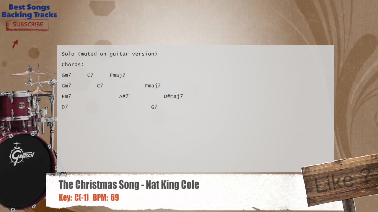 The Christmas Song - Nat King Cole Drums Backing Track with chords and lyrics - YouTube