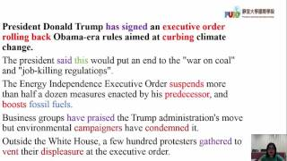 Trump signs order undoing Obama climate change policies-29th March BBC news