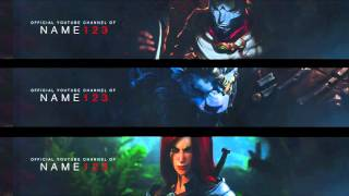 League of Legends YouTube banner Jhin, Katarina & Rengar