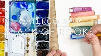 Watercolour Stack of Books