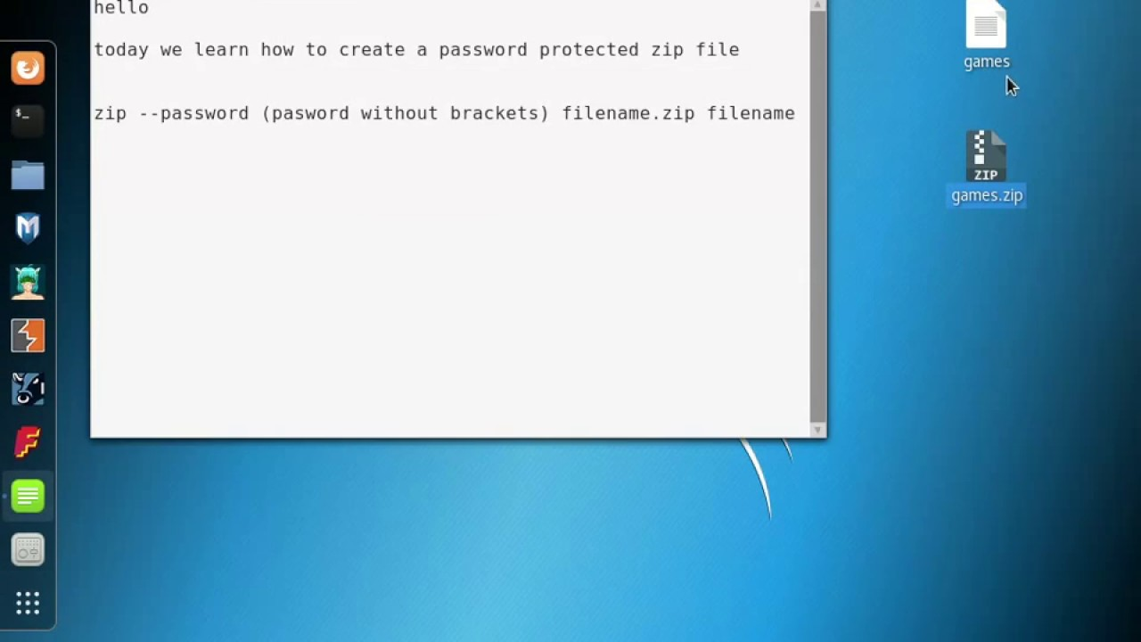 how to create a password protected zip file in kali linux