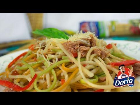 Spaghetti Verduras Doria con Tomate y Atun