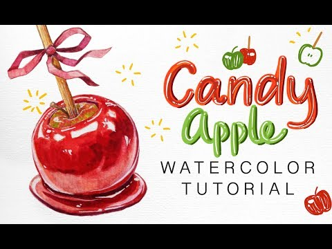 Watercolor Food Illustration: Candy Apple
