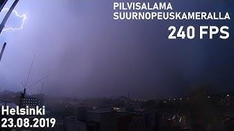 Säällistä kuvausta: Pilvisalama suurnopeuskameralla, Helsinki 23.08.2019