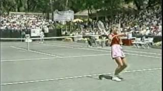 Chris Evert defeats Martina Navratilova 6-0 6-0 in the 1981 Amelia Island final