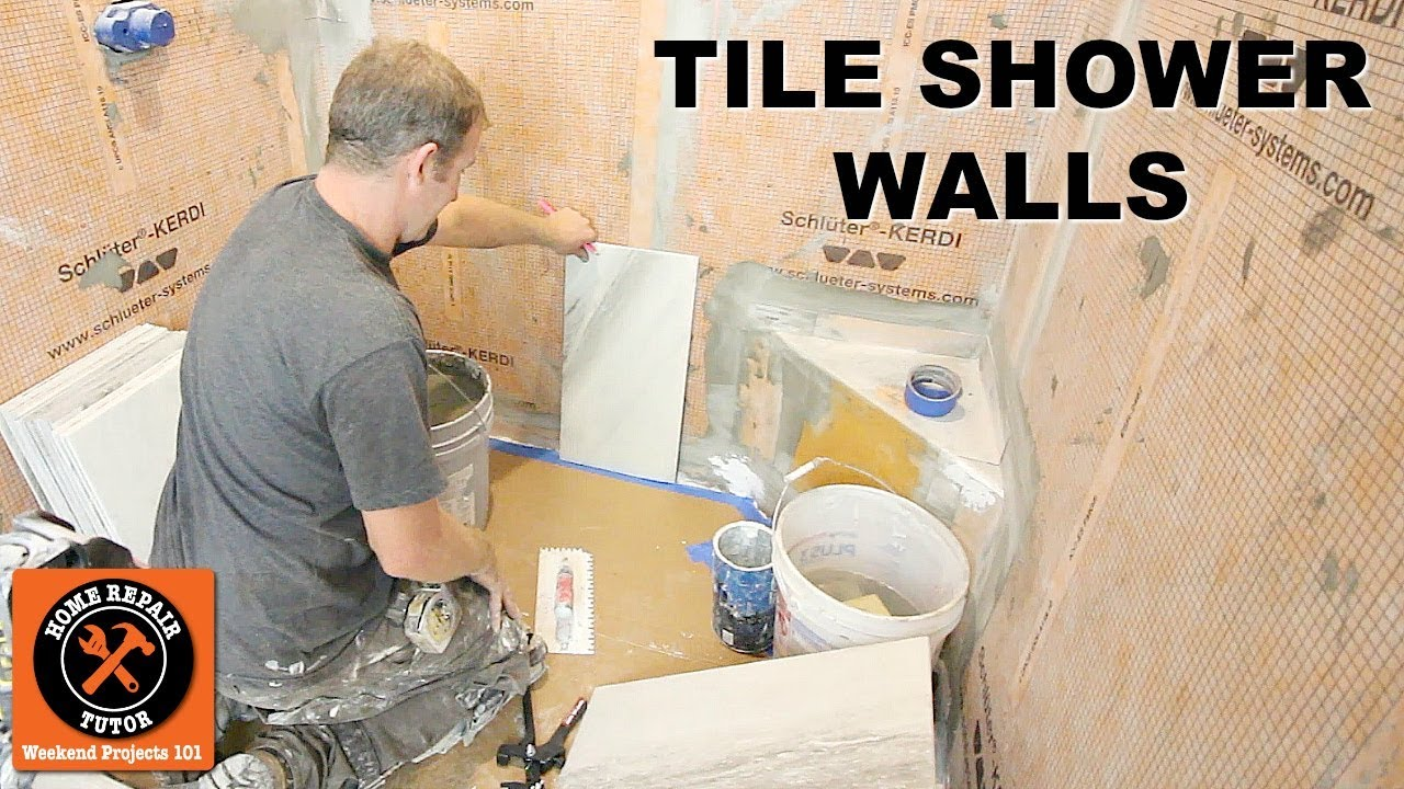 how to tile a shower wall vertical 12x24 porcelain by home repair tutor