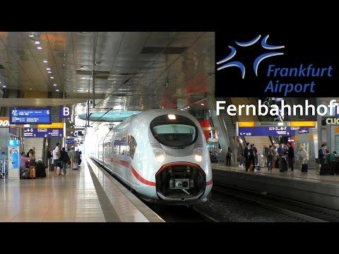 Frankfurt am Main Flughafen Fernbahnhof mit ICE 1, 3, T, Velaro D und IC mit BR 101 (+Werbelok)